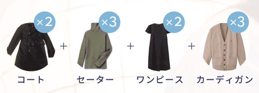 コート・セーター・ワンピース・カーディガンの合計10着のクリーニング料金比較